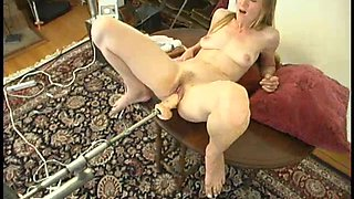 Lucy enjoys getting her cunt pounded by a fucking machine