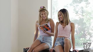 Teen babes having lesbian sex in their tutor's bed