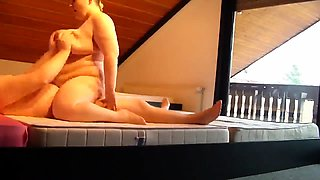 Chubby mature wife with huge tits rides a cock on hidden cam