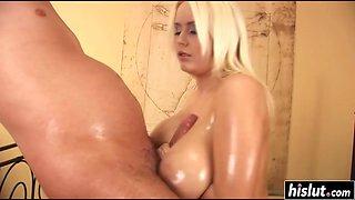 Pamela likes titty fucking while oiled up