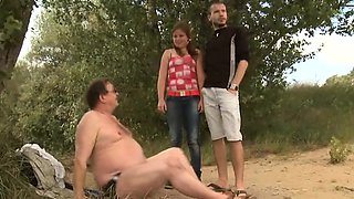 Hot young beautiful chick screwed by old man