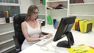 Seductive office slut gets roughly fucked in the workplace
