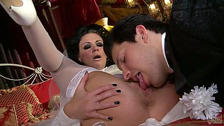 Just married couple is having passionate oral sex right after the ceremony