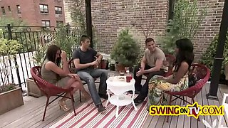 hot reality show with swinger couples who want to fuck in foursome