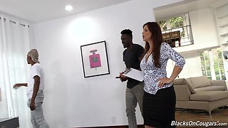 Syren Demer gang banged by three big black cocks and she loves it