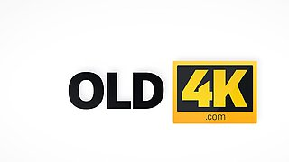 OLD4K. Old dad facializes blonde after stretching her...