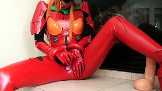 Kinky redhead camgirl in uniform drives herself to orgasm