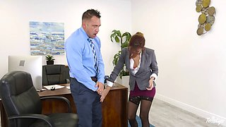 Hot ass Jade Jantzen in stockings smashed hardcore in the office