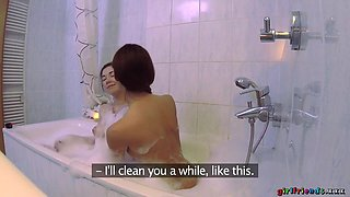 Daphne Angel & Kira Zen in Bubble Bath and Pussy Licking Fun - GirlfriendsXXX