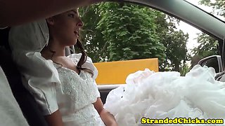 Stranded bride doggystyled outdoors