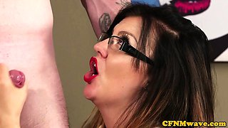 Glamour cfnm dominas jerking subject in trio