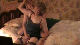 Useless chubby brunette wife watched her hubby and crossdresser