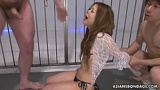 Bondage Asian babe Hibiki Otsuki gets her pussy and mouth punished