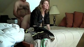 Horny busty wife loves her new boss on business trip