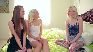 Wonderful Lily Rader invites two friends with juicy tits for lesbian fuck