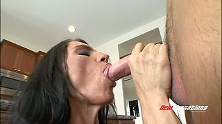 Dirty like mud super busty brunette MILF Lisa Lipps gives BJ in kitchen