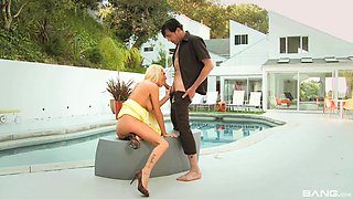 Riley Evans seduces a guy with a pulsating rod for a fuck