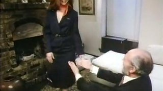 Marvelous German redhead hot babe blows dick of a mature guy