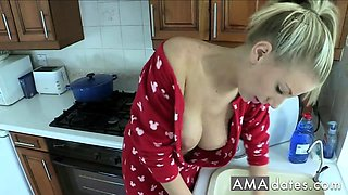 Danielle's boobs pop out while washing