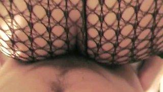 BBW Wears Fishnets While Fucks Anal