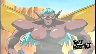 A crazy hentai vid where huge boobies of dark skinned elf can beat ppl