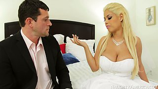 Busty bride Bridgette B enjoys foreplay with Preston Parker