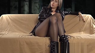 In my black leather jacket n pantyhose dominating and humili