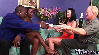 Hot interracial foursome with two lovely fillies