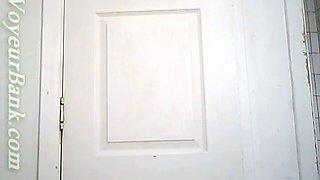 White chick in the toilet gets filmed on cam when she pisses