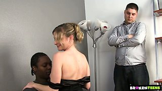 Cuckold hubby lets his white wife Lya Pink work on strong fat BBC