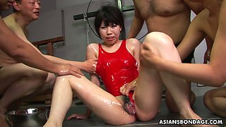 Tied up Asian chick An Orie gets her mouth fucked and jizzed