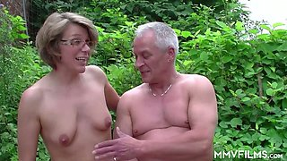 Real mature slut in glasses rides dick of grey haired farmer