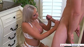 Damn perfect German beauty with huge boobies Nina Elle gives good BJ