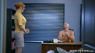 Classy secretary Lauren Phillips makes her boss relaxed by fucking him