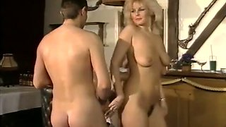 Busty blondie and her girlfriend got pleased in their bedroom