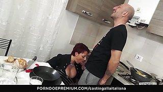 CASTING ALLA ITALIANA Older redhead ass drilled deep