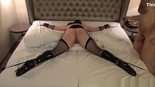 Tied up love-making slave in ballet boots tried with tough s