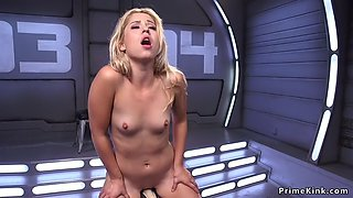 Small tits blonde rides sybian and cums