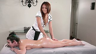 Tempting babe Ayumi Anime is making love with lesbian masseuse