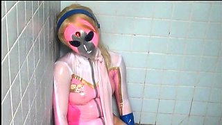 Masked Oriental teen in uniform gets pounded hard and deep
