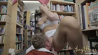 Nerdy bookworm gets his strong dick sucked by busty sexy librarian