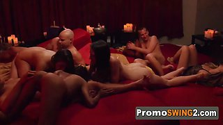 Hannah and jj play with whip cream as they foreplay with other couples