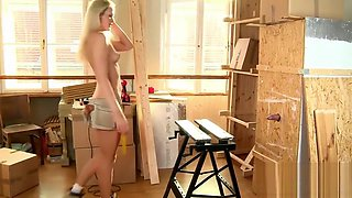Raunchy gloryhole session with a slim blonde