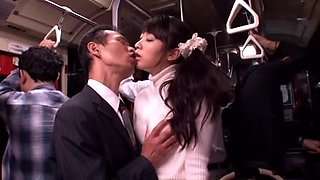 Japanese whore fucked and facialized in a bus