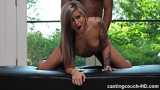 Slutty tattooed babe gets her pussy destroyed by bbc in a casting scene