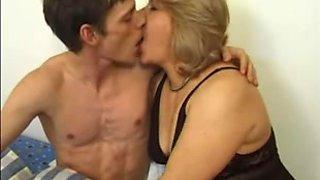 European Mature MILF seducing a young boy to fuck her