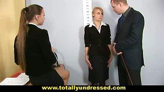 Shy blone secretary interviewed by HR staff