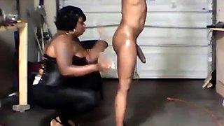 cock gets RUFF ebony domina
