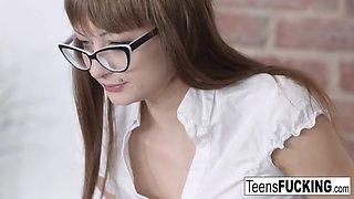 Schoolgirl in glasses gets her tight teen ass fucked