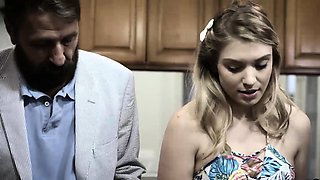 Curvy teen fucks her fathers best friend in the kitchen